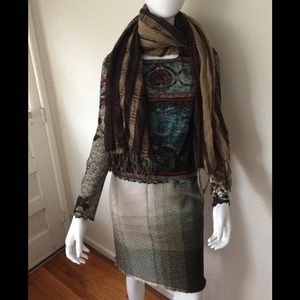 Missoni wool earth tone woven skirt w/ silk lining